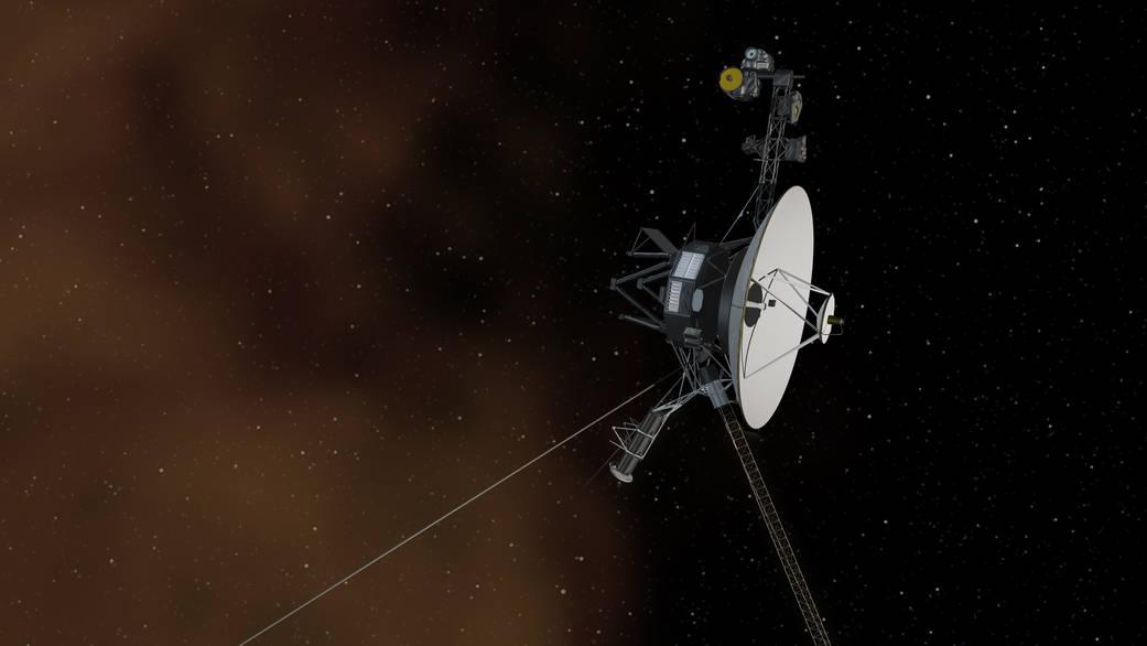 Vue d'artiste de la sonde Voyager 1 quittant le Système solaire