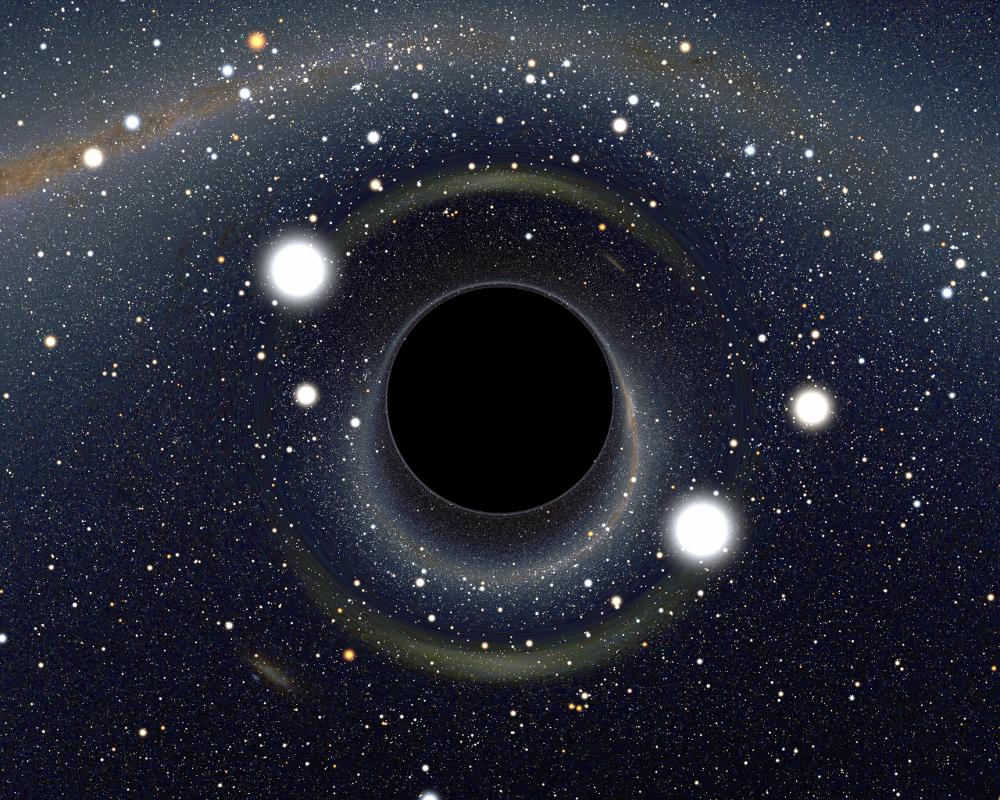 Simulation de ce qu'on verrait en se rapprochant d'un trou noir