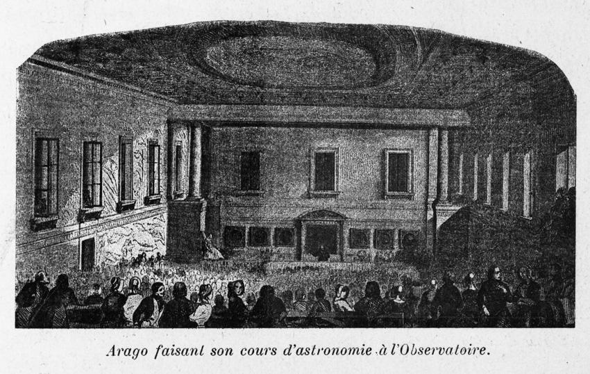Arago donnant son cours d'astronomie populaire dans son amphithéâtre , à l'Observatoire de Paris - droits : Bibliothèque de l'Observatoire de Paris