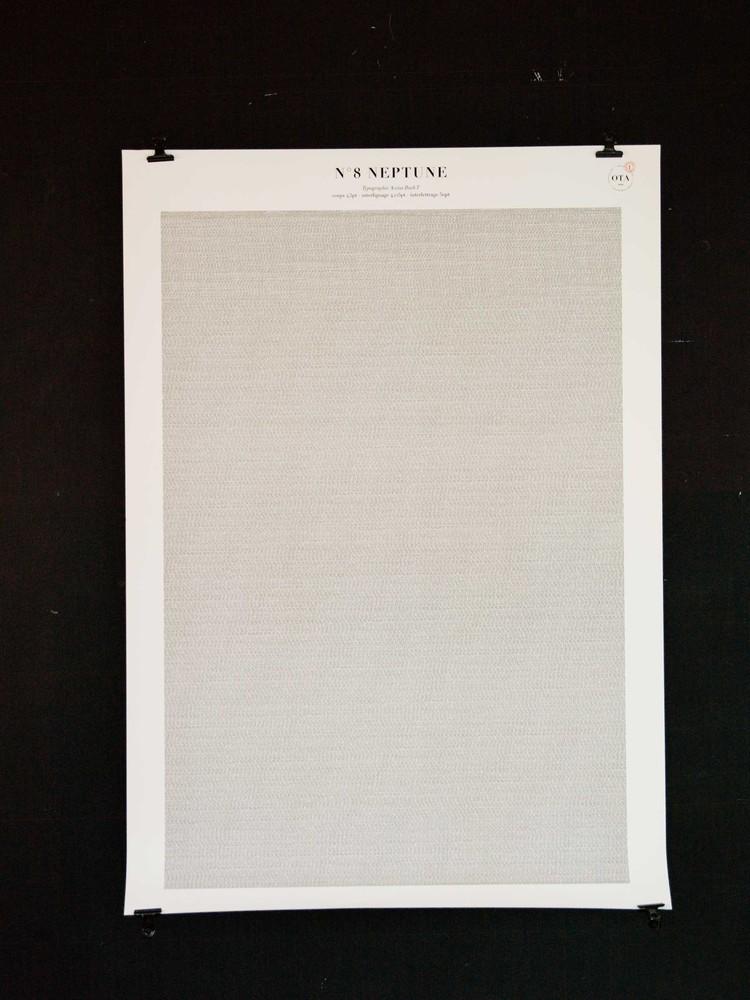 Affiches de révolution - série de 8 affiches typographiques N°8 Neptune, période de révolution : 60 266 jours