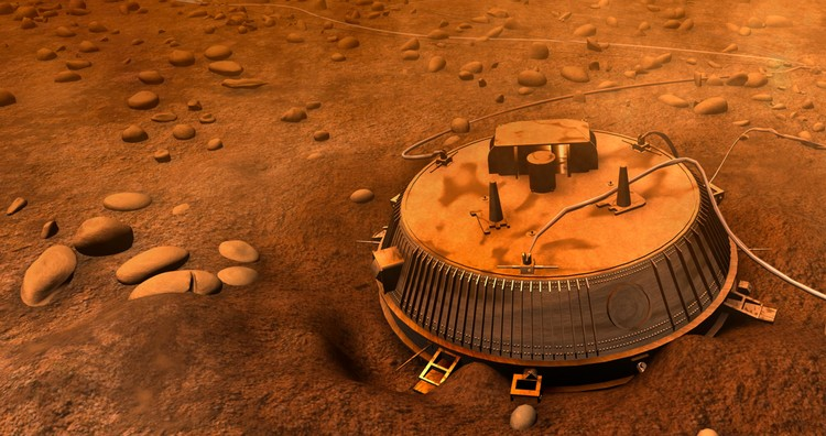 Vue d'artiste de Huygens sur Titan – droits : ESA