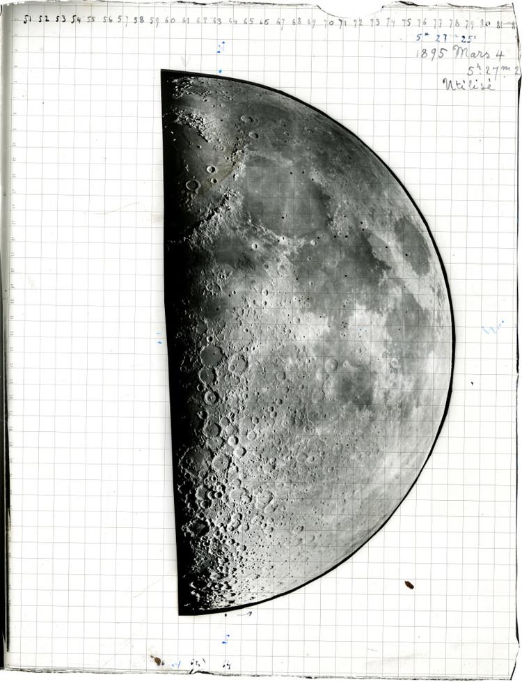 Cliché de la Lune de Loewy et Puiseux pris au grand équatorial coudé, 4 mars 1895 - droits : Observatoire de Paris
