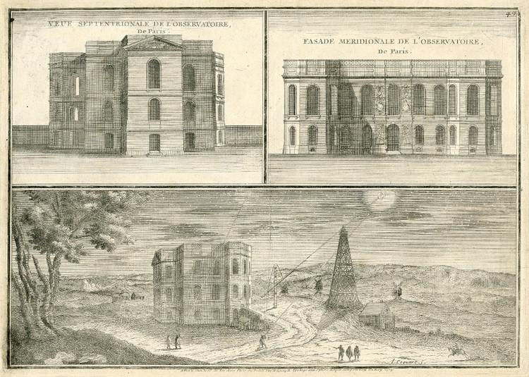 Vue septentrionale de l'Observatoire de Paris, gravure de A. Coquart, 1705 - droits : Observatoire de Paris
