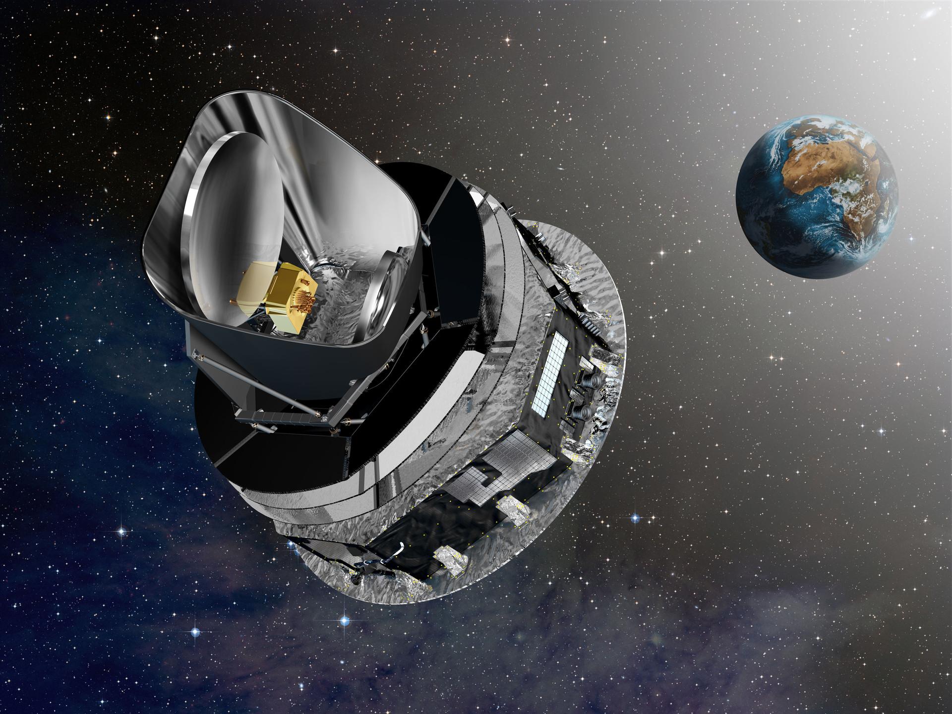The planck satellite to its work orbit (artist's view)